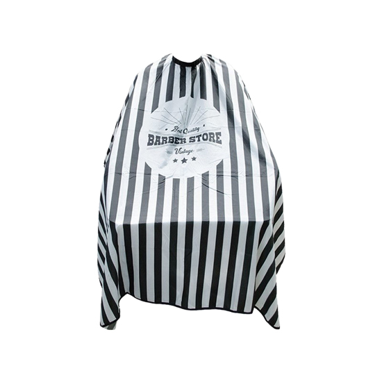 BARBER - Pelerina frizerie/coafor - negru cu alb F1
